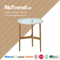 wood round glass center table coffee table