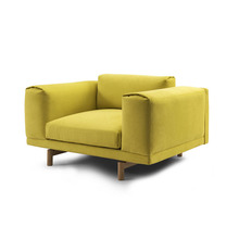 The latest design of the living room single yellow fabric sofa