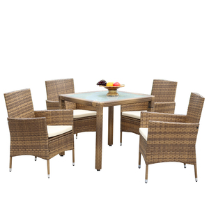 Chinese Products Wholesale Patio Luxury Outdoor Dinning Set With 10Cm Thickness Cushion Rattan Dining Furniture