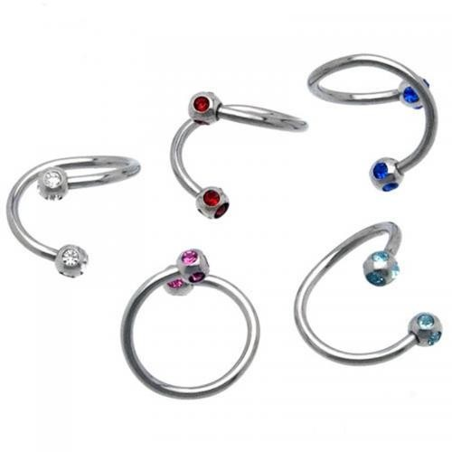 Fashion Jewelry Piercing Nose Twister ring with multi zircon