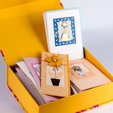 All occasion kraft greeting cards creative colorful handmade paper luxury wedding invitation card with box