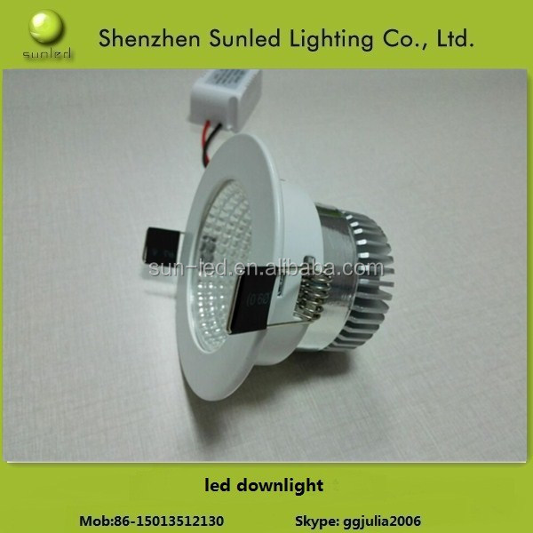 warm white ,pure white 85-265V hot sale 600LM 7W COB dimmable led downlight