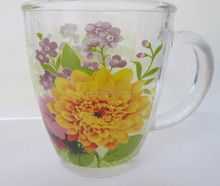 Hot selling flower decal accept clear glass drinking mug with handle