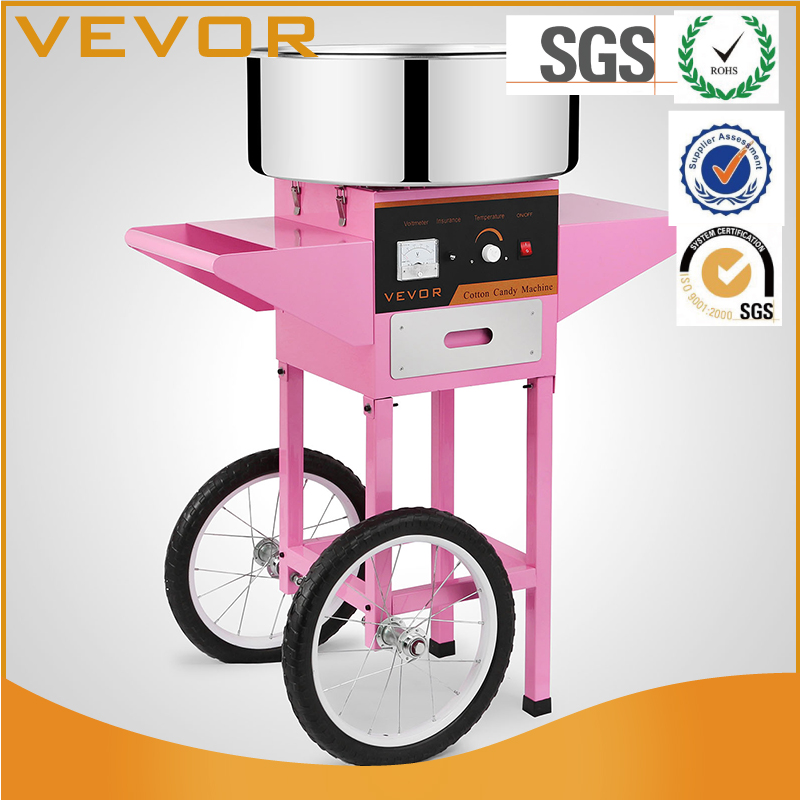 VEVOR Electric Commercial Cotton Candy Machine / Floss Maker Pink Cart Stand