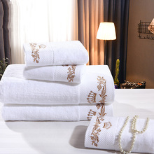 Luxury hotel quality organic cotton terry jacquard bath towel/face towel set