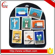 Cute animal stamp souvenir custome 2d flat paper fridge magnet
