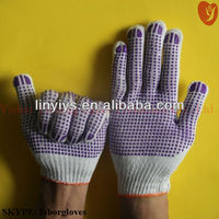 fitness double side cotton pvc dotted gloves