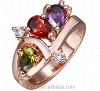 Fashion design colorful diamond rose gold rings wholesale for women