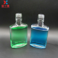 100ml flat square shape clear empty glass wine bottle for alcohol liquor whisky