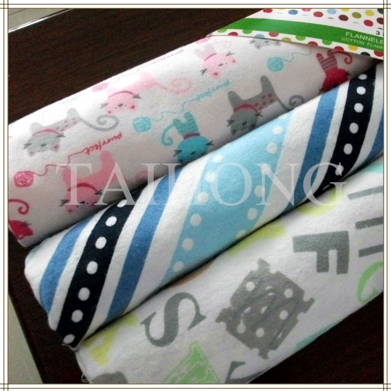2016 hot sale 100% cotton brushed flannel cloth