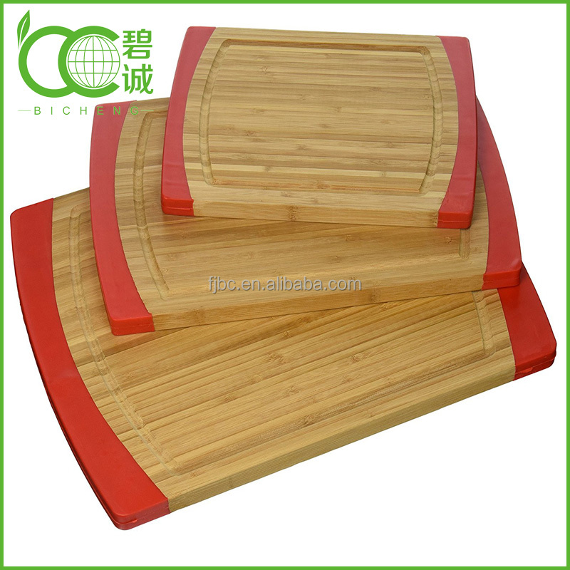 3-Piece Bamboo Cutting Board Set with Non-Slip Edged Rubbler