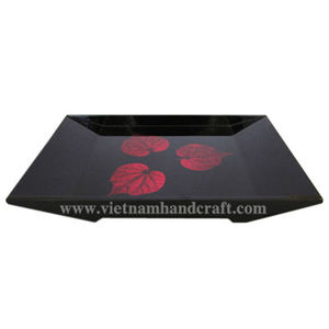 Eco-friendly handpainted vietnamese lacquerware serving tray with hand-painted red leaves