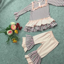 2015 china yiwu boutique summer children girls outfits giggle moon remake outfits stripe clothing sets girl set live picture