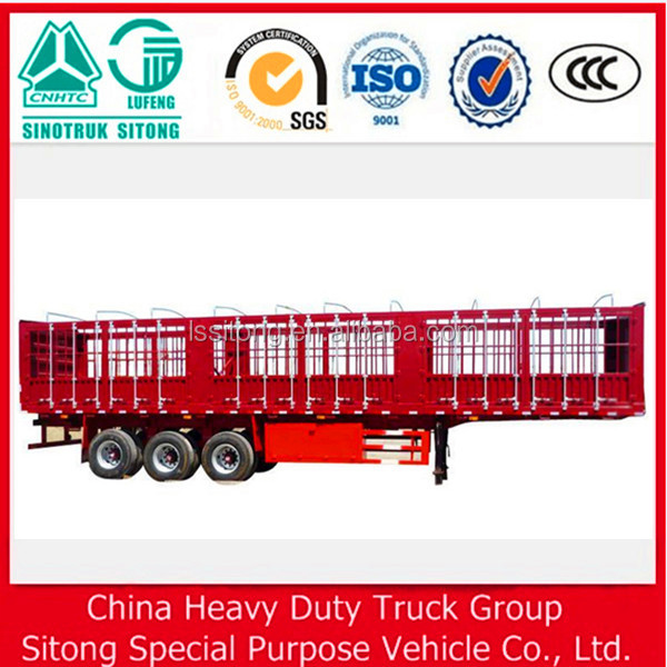 Truck trailer type 40 tons 3 axles two storages 50-60 head cow livestock fence semi trailer/cattle transport trailer for truck