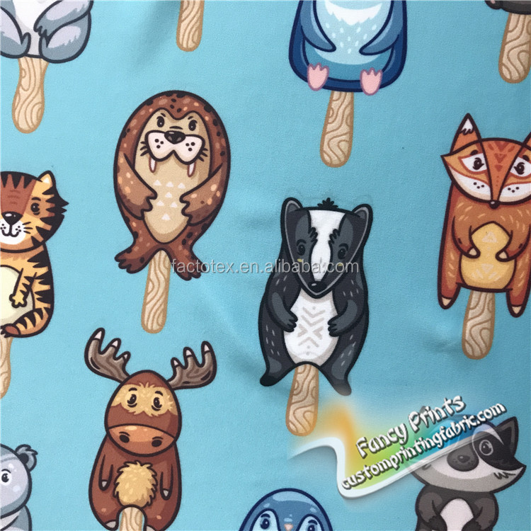 Latest design superior quality animal french terry 95 cotton 5 spandex fabric