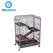 Brown Portable 3 Layer Breeding Cat Cage Indoor Cat With Wheels