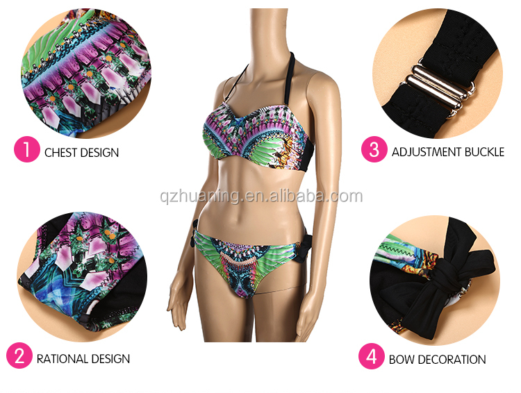 Sexy Women Bandeau Bikini Set Peacock Print Swimsuit Supplies Wholesale
