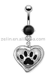 Paw Print Heart Navel belly Ring,316L jewlery,body piercing jewelry