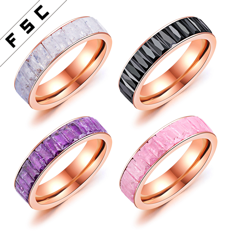 Factory Sale Saudi Arabia Gold Plated Stainless Steel Crystal Stone Wedding Ring for Girl