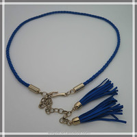 Lady's tassel braided suede leather belt for dress