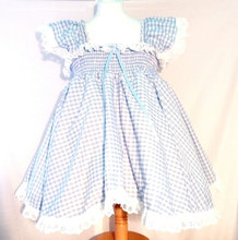 Lace Baby Cotton Frocks Designs Short Dress in Pale Blue Gingham Girls Dress