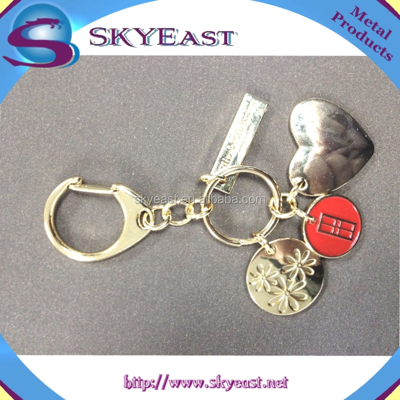 Hot Sale Enamel Charm and Heart Shape Tag with Keychain and Ring