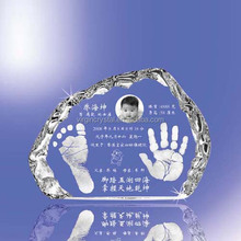 Crystal block for baby birth souvenir with custom photo and logo