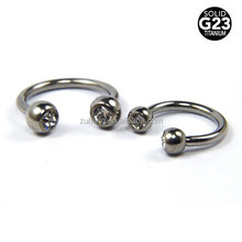 Jeweled Ball Design Solid G23 Titanium Circular Barbells
