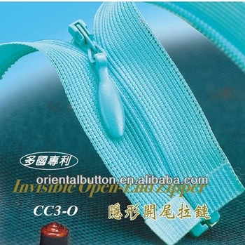 HIgh quality 3# KCC invisible zipper dyeable tape zippers for close end