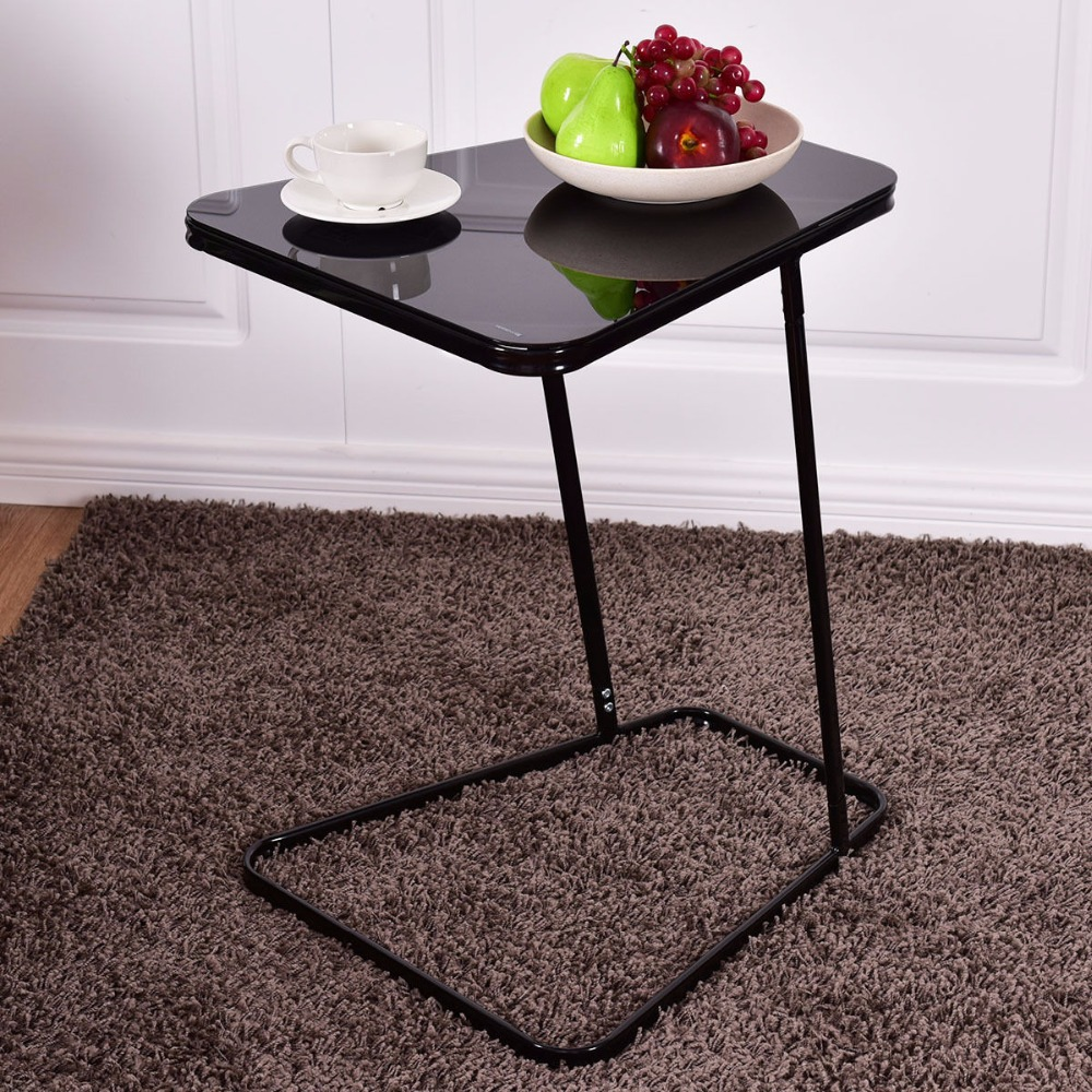 Black Bed Side End Laptop Coffee Sofa Table C Shape Steel Glass Top Food Tray