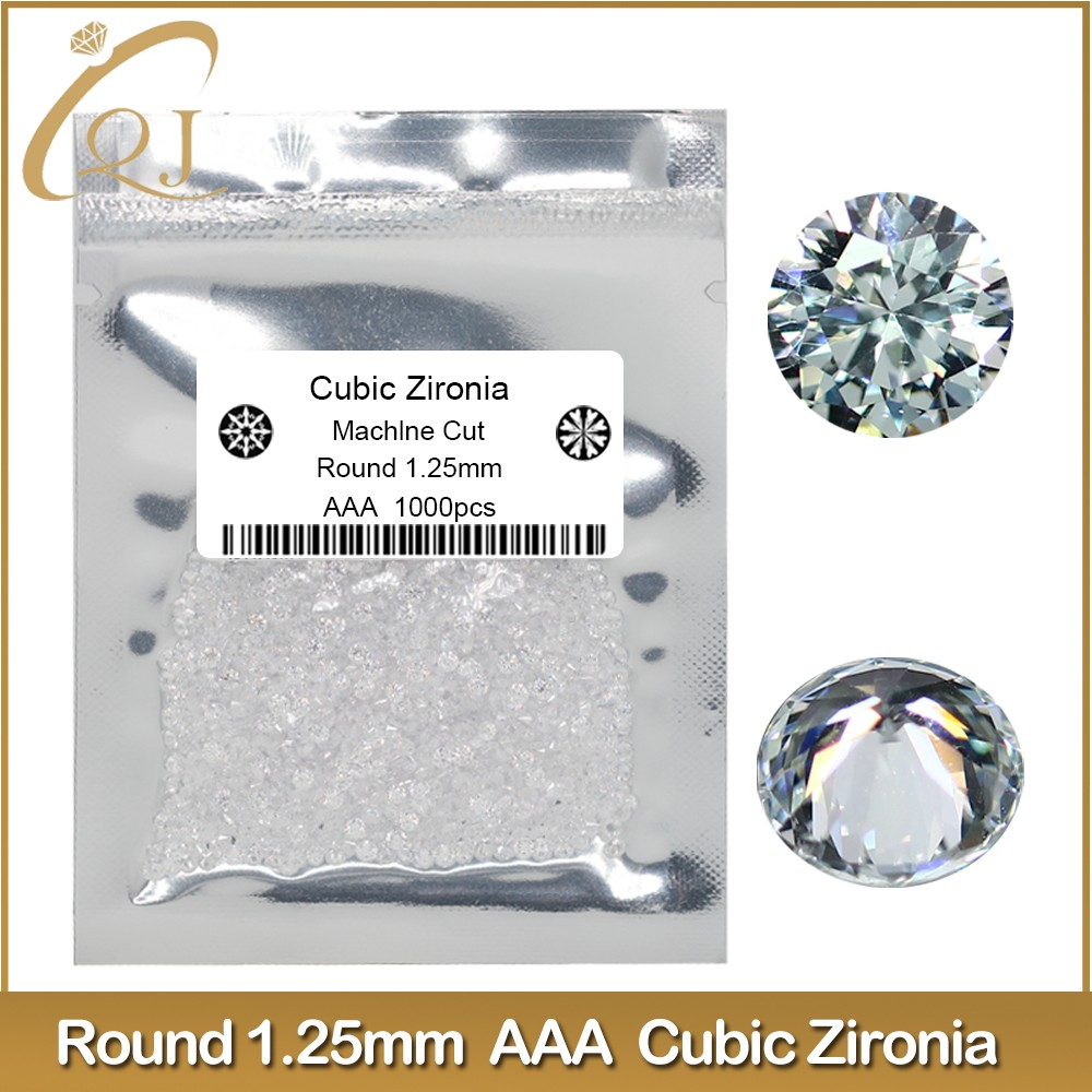 AAA white cubic zirconia gemstone with 1.25mm round shape cz stones