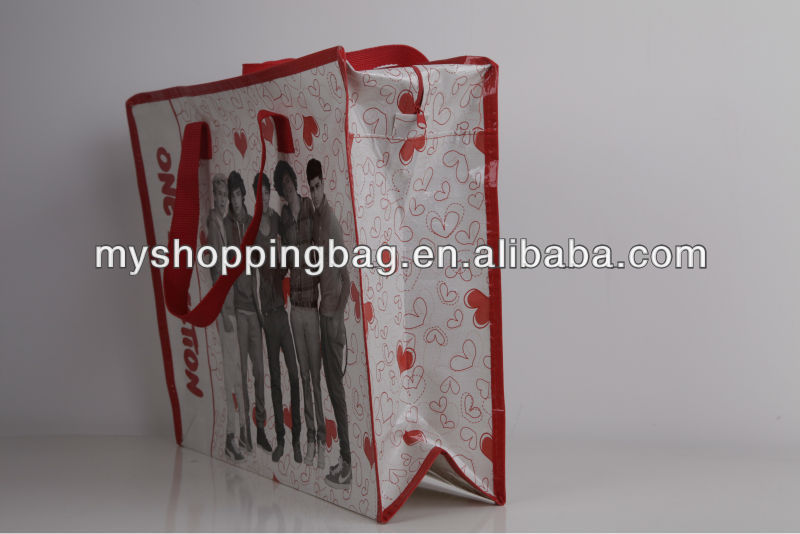 pp woven shopping bag with zipper China maufacturer