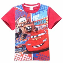 Hot Movie Cars T-Shirt for kids Wholesale Cartoon movie T-Shirts with cheap price Promotion Cars cotton T-shirts for Children