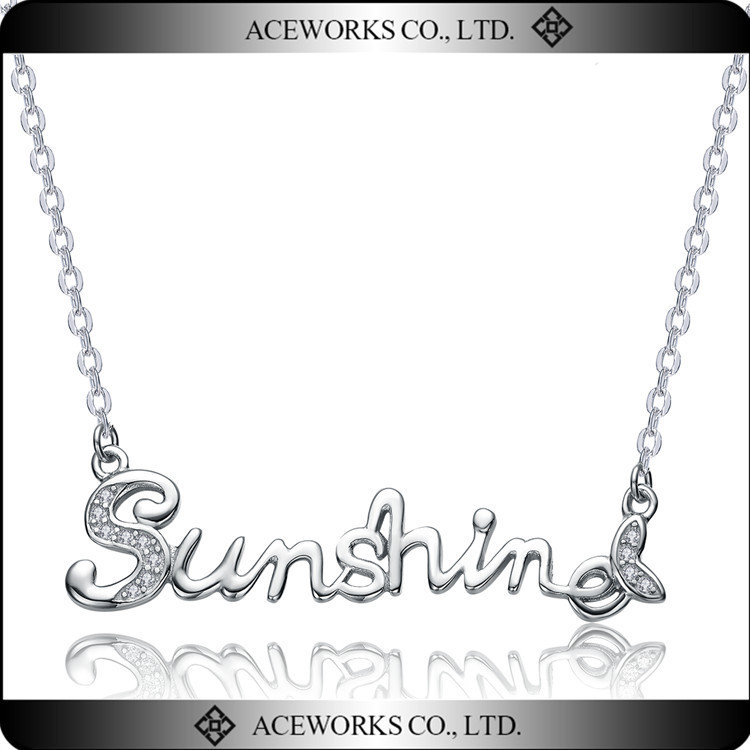 European And American Style 925 Sterling Silver Letters Necklace For Lady Personalized Letter Sunshine Pendant Jewelry