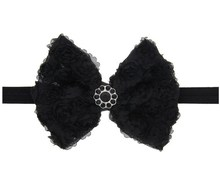 Wholsale, and retail Fashion Hair Accessory Black Hair Bands Large Ribbon Korean Hair Bow Headband For baby girls