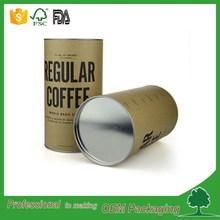 coffee powder packaging tube round kraft paper cylinder box with tin lid and tin bottom kraft paper tube with custom printed