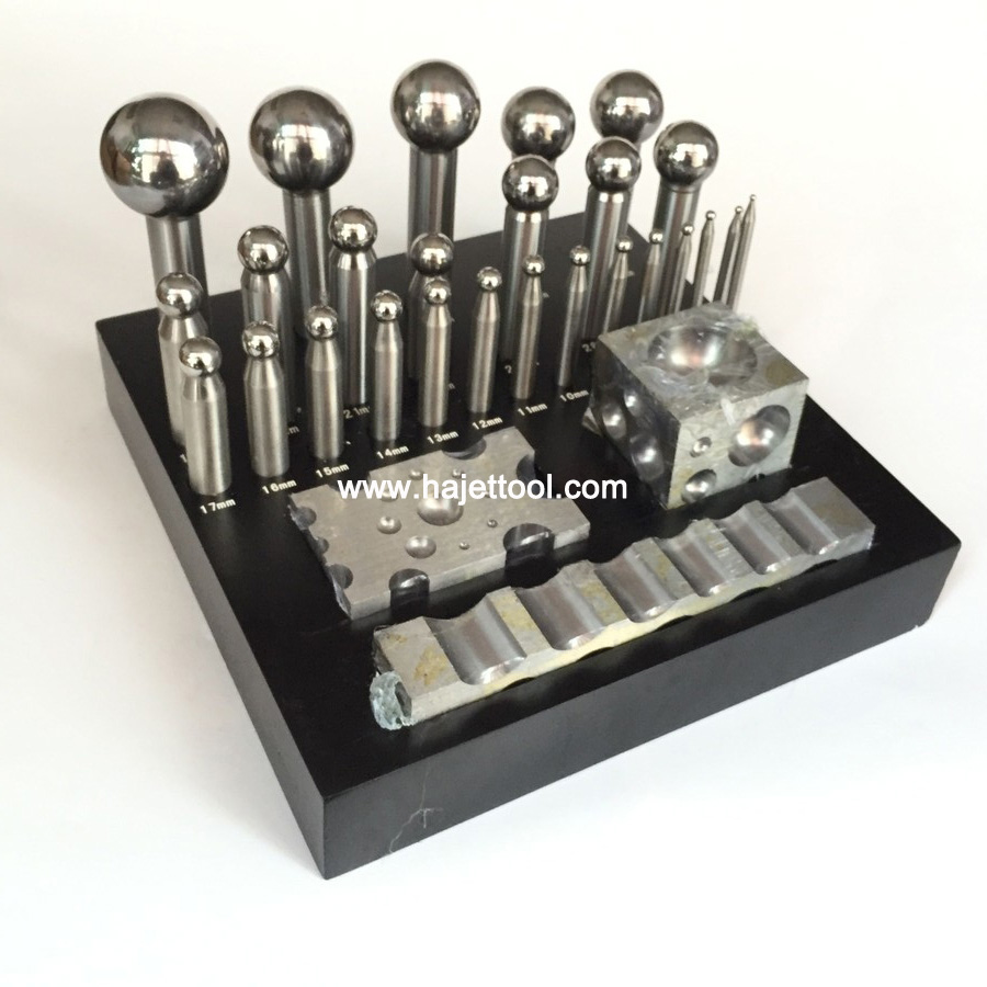 30PCS Jeweler Jewelry Doming Dapping Block Punch Set Wood Stand Punches Hand Tool Punches