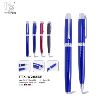 2017 High quality blue VIP business gift logo print custom promotional metal pen