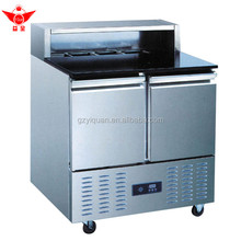 Refrigerated pizza/salad glass work table, salad counter chiller