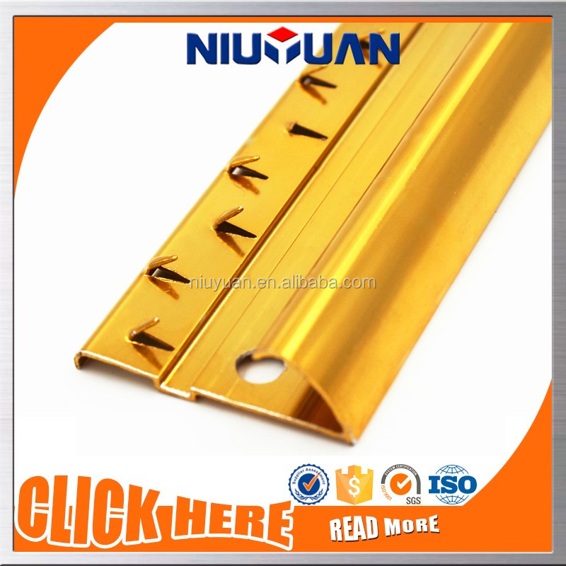 Twin Side Anodize Bright Gold Metal Strip Carpet Trim
