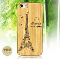 Hottest bamboo wooden wood golden aluminue metal back cover case for IPhone 5 5S