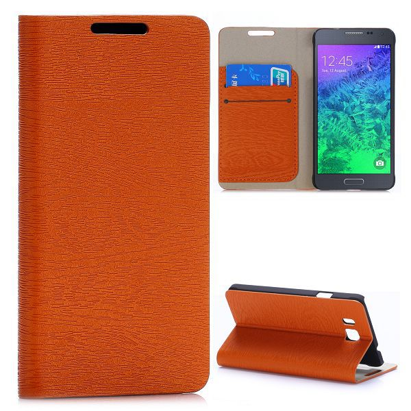 Wood Grain with Card Slots Magnetic Flip Stand Leather Case for Samsung Galaxy Alpha G850F G850A