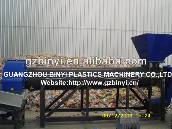 Plastic scrap washing machine, waste PET bottle flakes hot washer factory