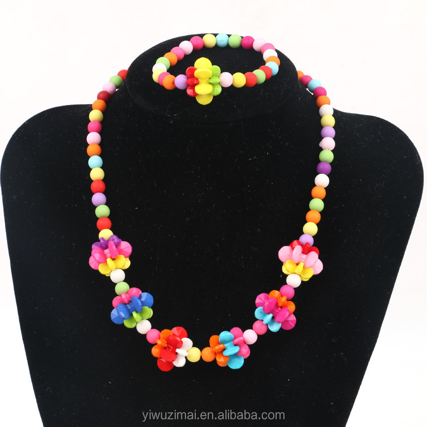 Children's creative accessories colorful coral beaded lanterns bracelet necklace jewelry sets