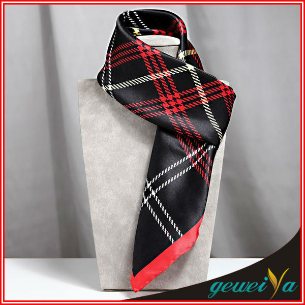 Digital Silk Printed Plaid Stripe Scarf