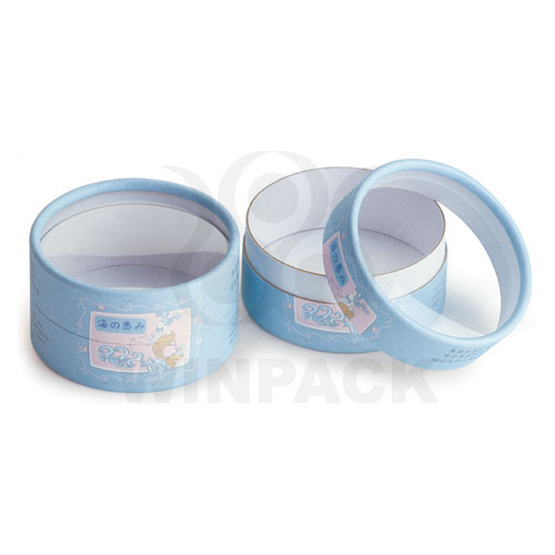 Mini Delicate Round Blue Paper Cardboard Box for Gift and Cosmetics with PVC Window