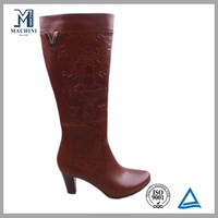 Emboss process stiletto heels knee high heel boot
