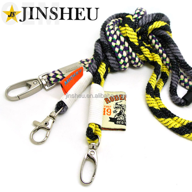 Promotional custom woven label round cord rope braided neck lanyard