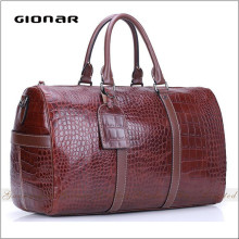 Hot Sell European Design Croc. Embossed Real Leather Luggage Tag Travel Bag Duffle Bag