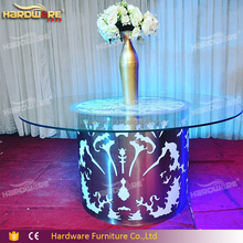 wedding furniture glass round led banquet table for event wedding